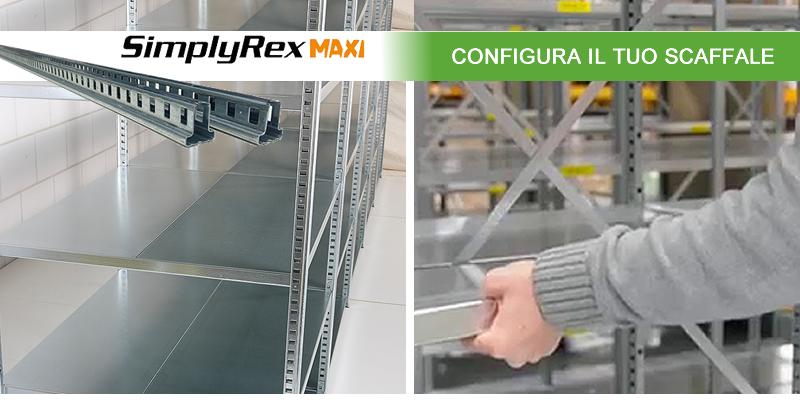 Scaffalature metalliche zincate per magazzino SimplyRex Maxi