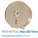 Distributore cartaigienica 200 mt. inox satinato cm. 27,3x12x27,3
