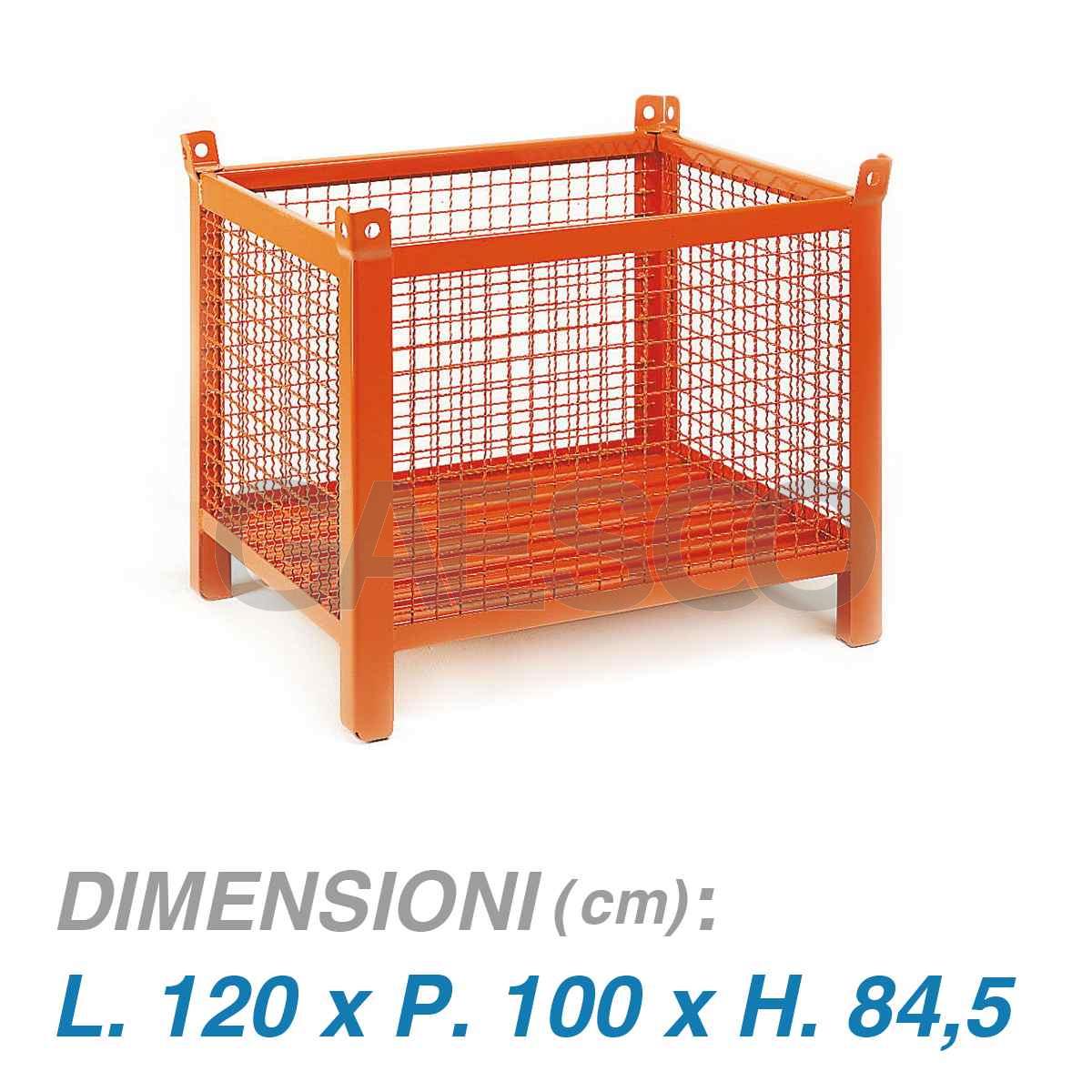 Contenitori In Ferro Per Magazzino.Contenitore Metallico Pareti Rete Dim 120x100x85 800 Kg