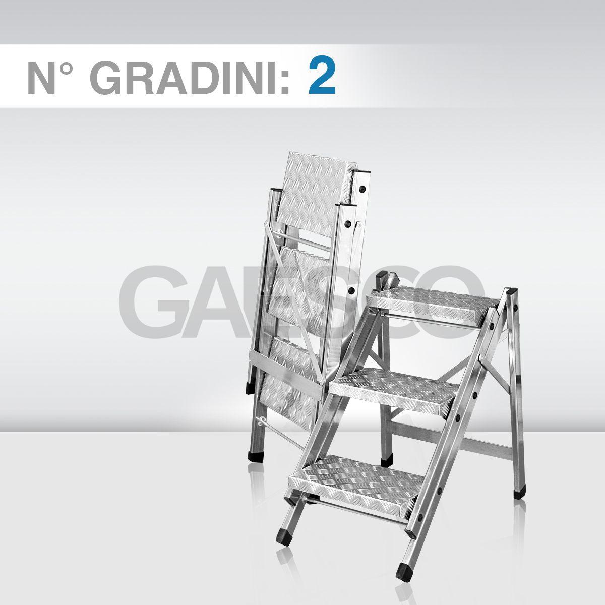 Sgabelli Pieghevoli Alluminio.Sgabello Pieghevole In Alluminio Con Gradini In Lastra Mandorlata 2 Gradini