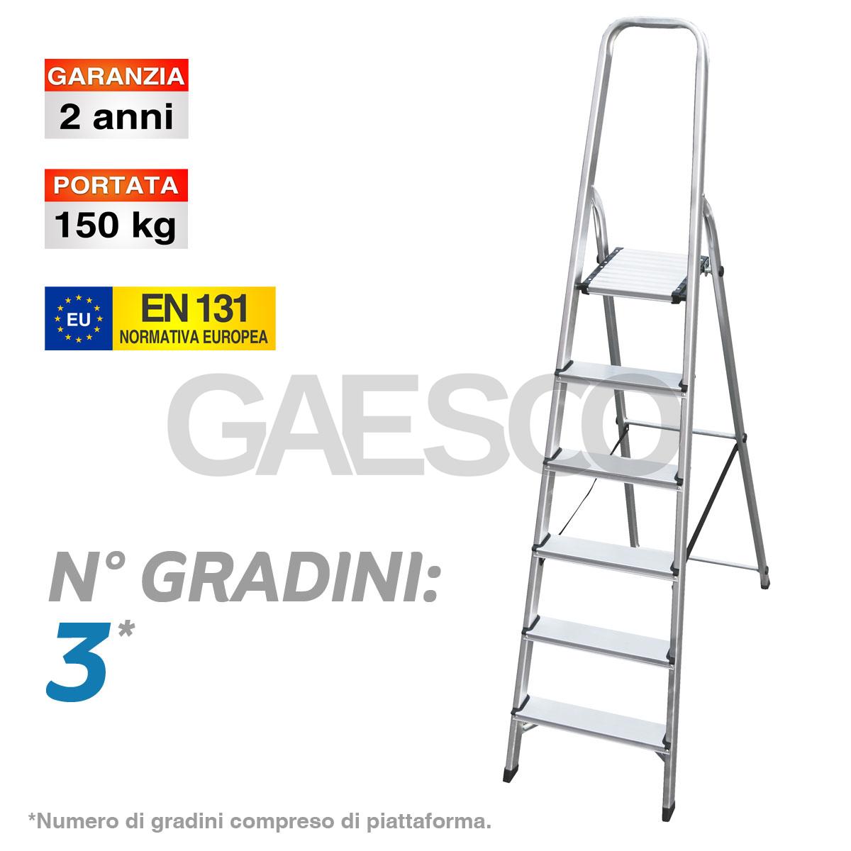 Altezza Gradini Scala scala domestica con piattaforma e parapetto - 3 gradini