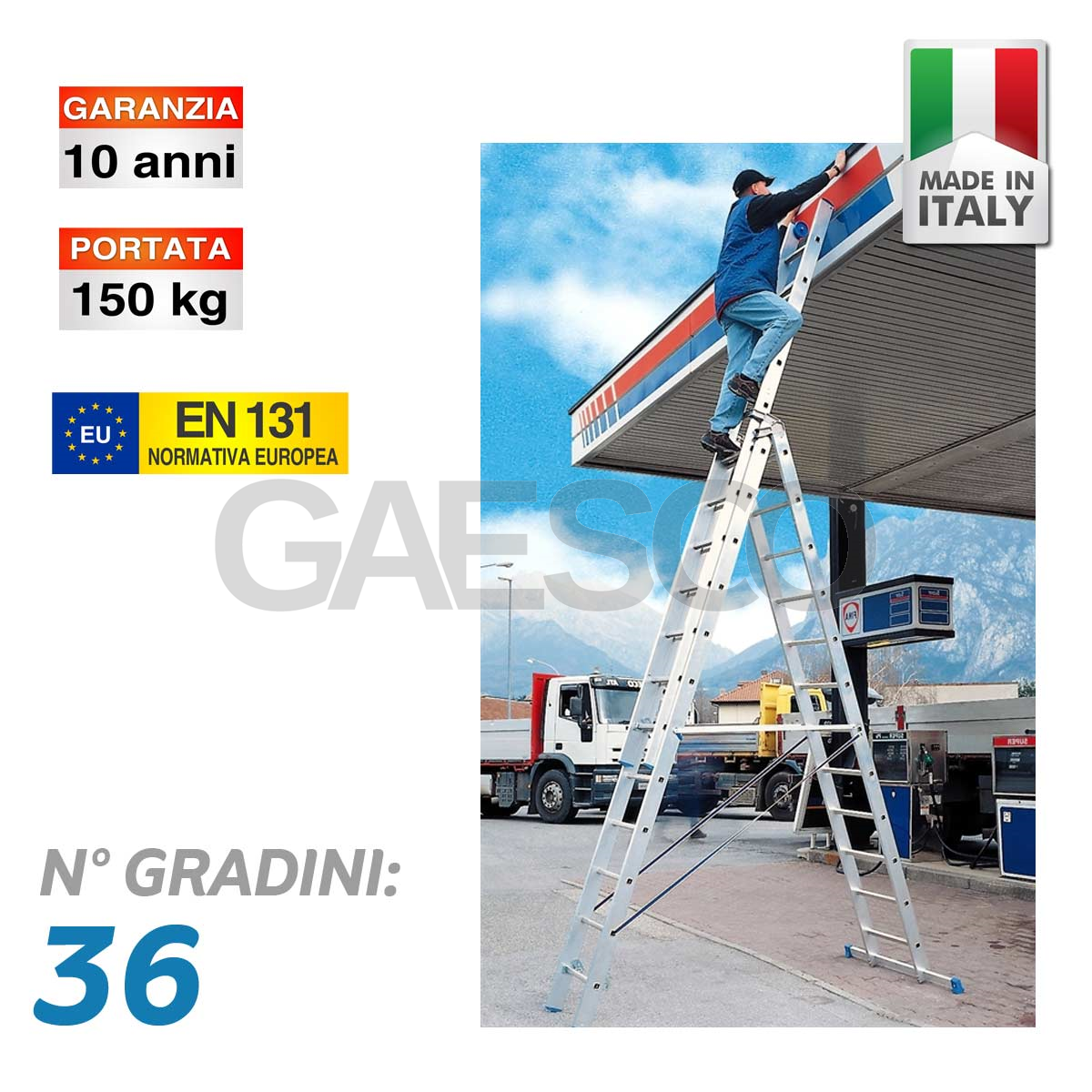 Scala professionale multiuso in 3 tronchi con base for Gradini del ponte curvi