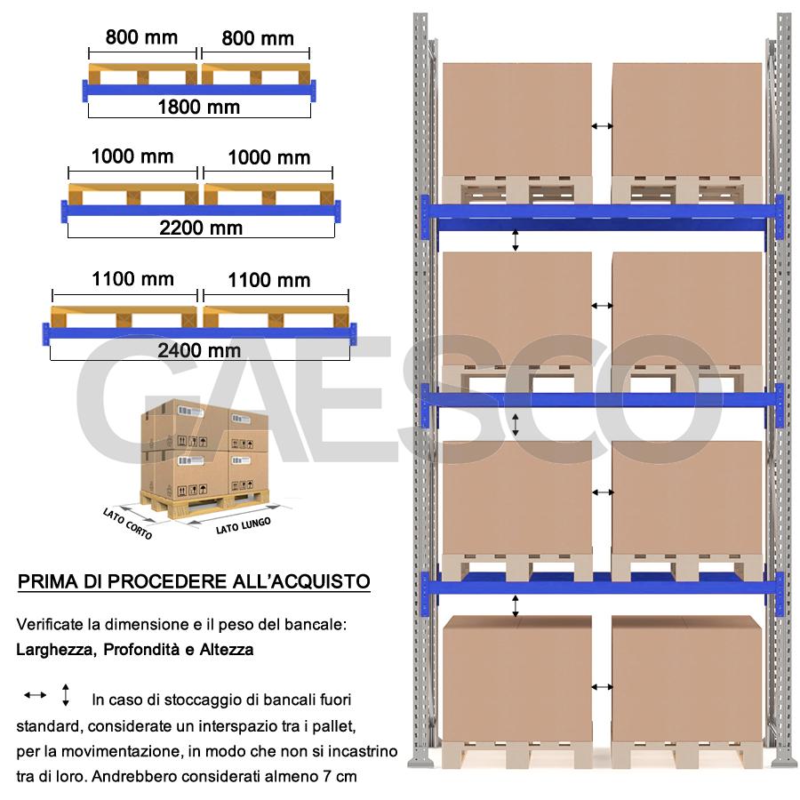 Scaffalature Metalliche Misure Standard.Scaffali E Scaffalature Porta Pallet Mt 70 Cm L 240xp 120xh 450