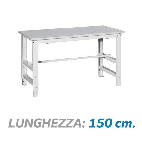 Tavolo da imballaggio regolabile in altezza con porta rotolo dim 150x80x78 115 3 cm - Tavolo regolabile in altezza ...