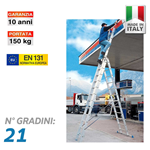 Scala professionale multiuso in 3 tronchi - 21 gradini